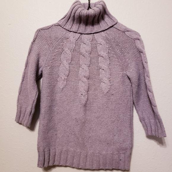GAP Sweaters - Gap Purple Cableknit 3/4 Sleeve Turtleneck Sweater